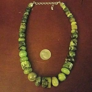 Jay king chunky green and black stone necklace